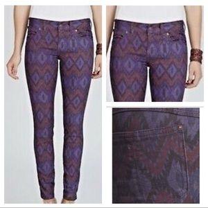 Free People Ikat Print Skinny Jeans Aztec Purple26